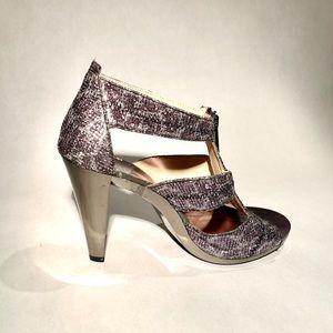 Michael Kors glitter sandals with zipper
